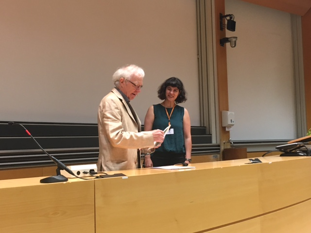 Dr. med Jacques Schiltknecht awards the APTL member, Penelope Baltzopoulou with the Trojan Horse Prize.